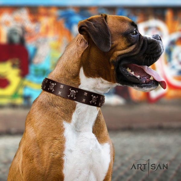 Boxer natural genuine leather dog collar for comfy wearing