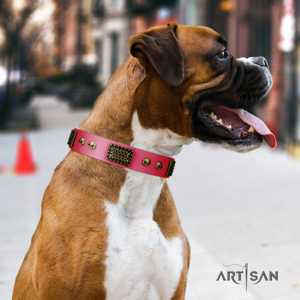 Boxer decorated leather collar with corrosion proof D-ring