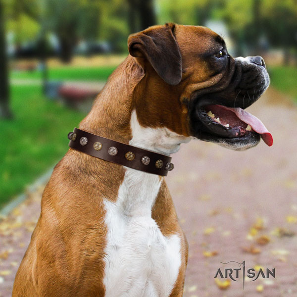 Boxer full grain genuine leather dog collar for comfortable wearing