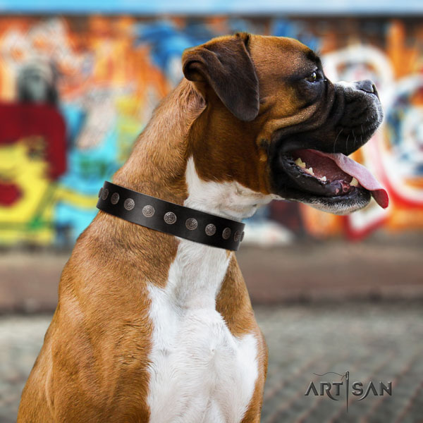 Boxer convenient natural genuine leather dog collar with embellishments