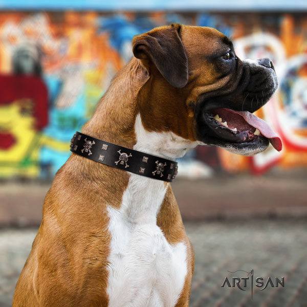 Boxer natural genuine leather dog collar for daily walking