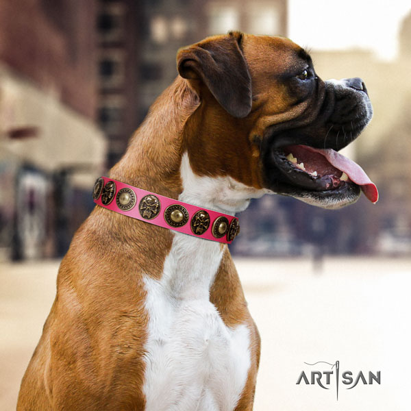Boxer full grain genuine leather collar with durable D-ring for fancy walking