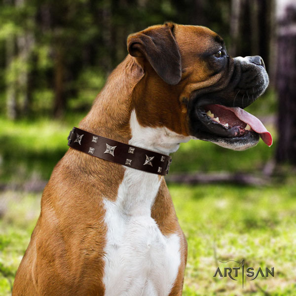 Boxer leather dog collar for easy wearing