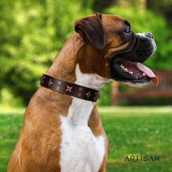 Boxer full grain genuine leather dog collar for easy wearing