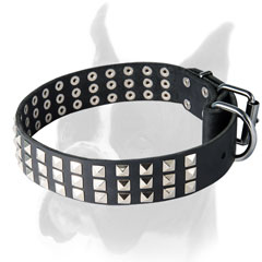 Best Choice Leather Boxer Collar with 3 Rows of Pyramids