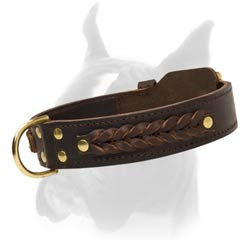 1 3/4 Inches Wide 2 Ply Leather Collar Protecting Dog's Fur