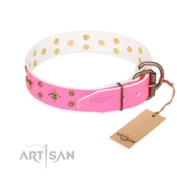 Stylish walking genuine leather collar with decorations for your dog