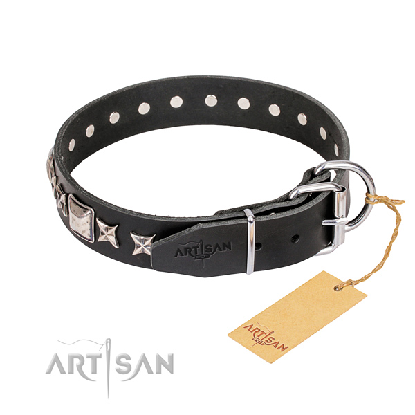 Everyday use full grain genuine leather collar with embellishments for your canine
