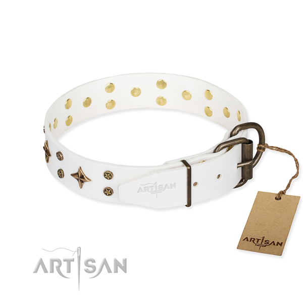 Stylish walking full grain natural leather collar with decorations for your dog
