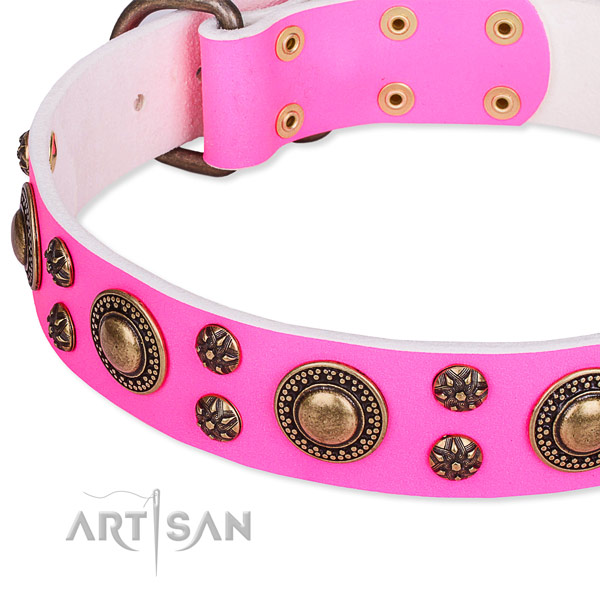 Natural genuine leather dog collar with inimitable decorations