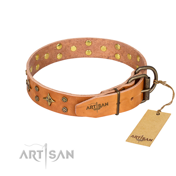 Handy use natural genuine leather collar with studs for your canine
