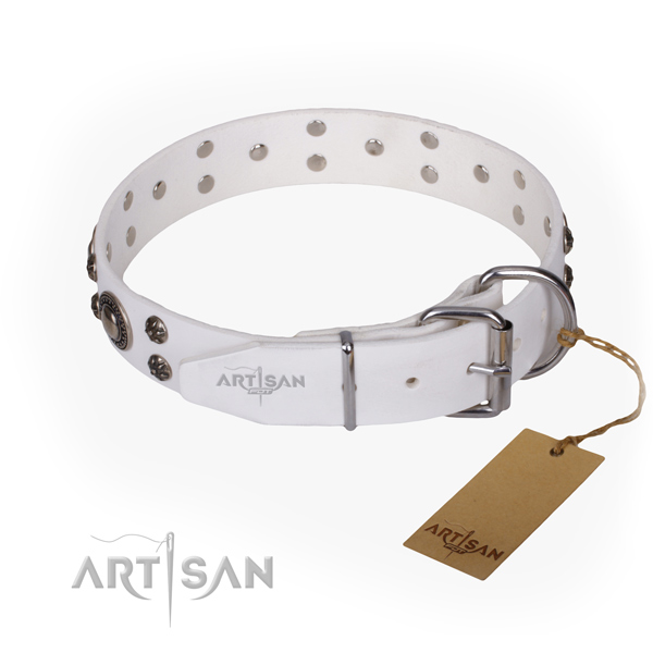 Handy use full grain genuine leather collar with embellishments for your doggie