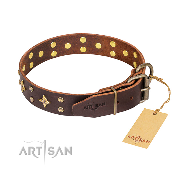 Everyday use natural genuine leather collar with studs for your canine