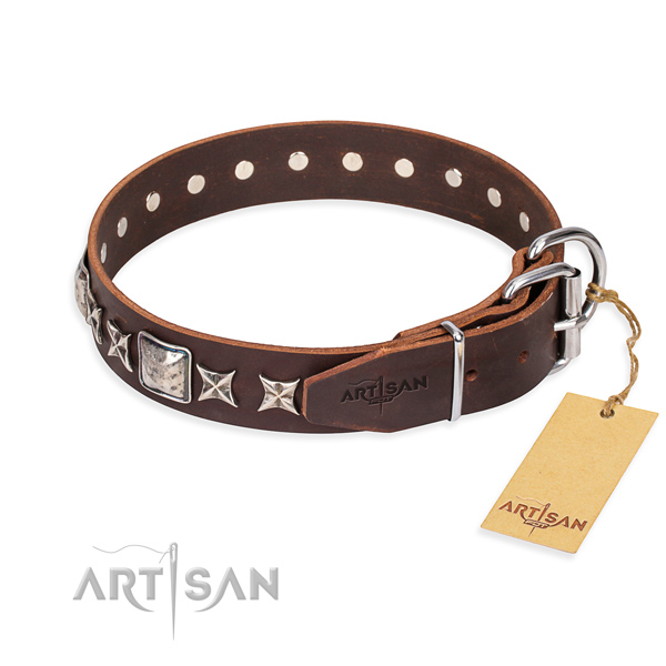 Handy use full grain genuine leather collar with adornments for your four-legged friend