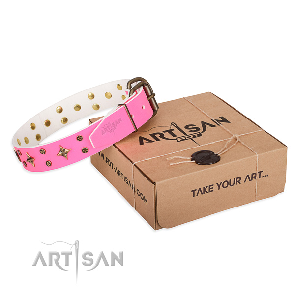 Embellished full grain genuine leather dog collar for walking