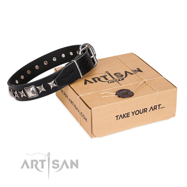 Adorned full grain genuine leather dog collar for comfortable wearing