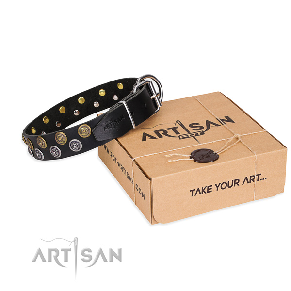 Genuine leather dog collar with decorations for walking