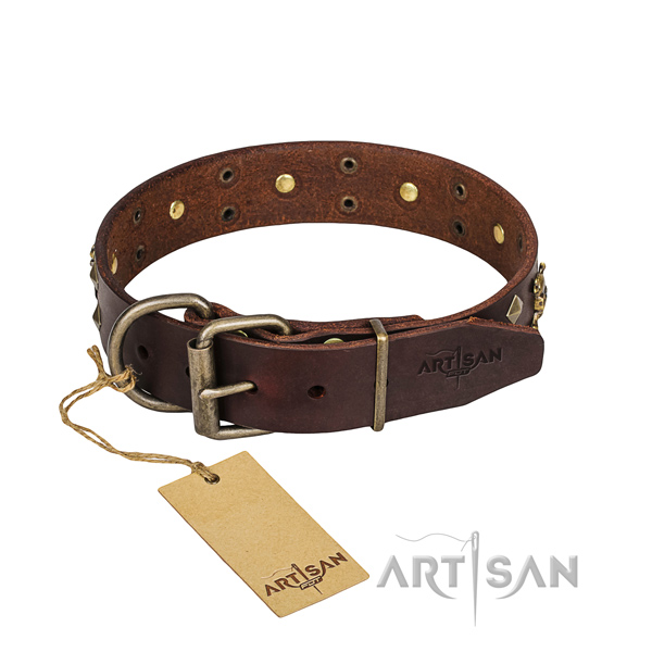 Leather dog collar with polished edges for pleasant strolling