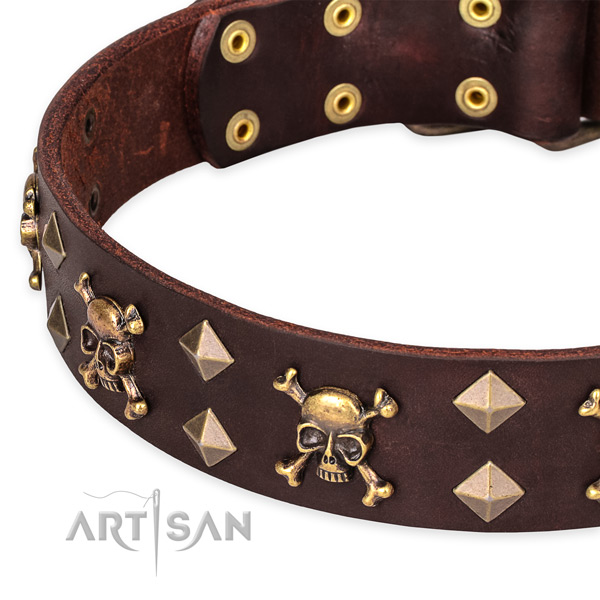 Casual leather dog collar with unique design decorations
