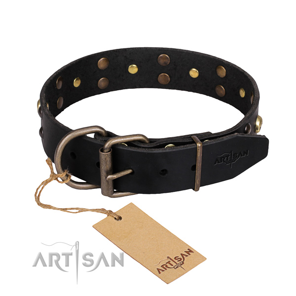 Day-to-day leather dog collar with cute decorations