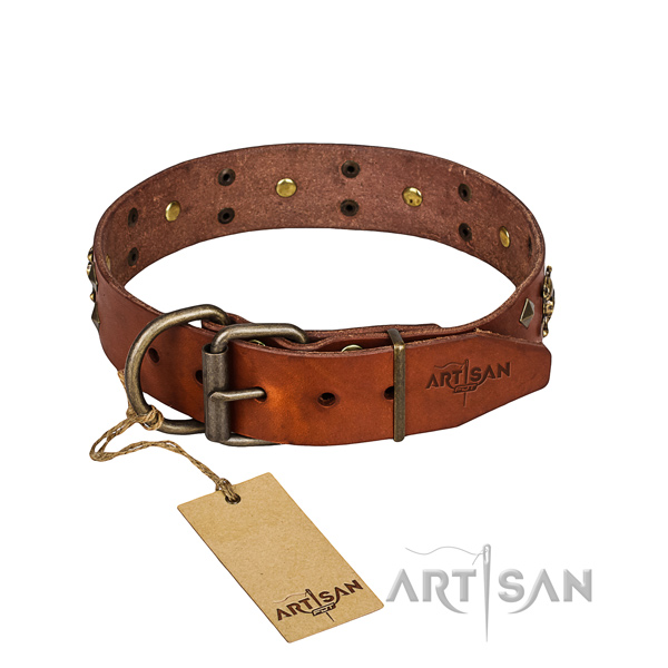 Indestructible leather dog collar with non-rusting elements