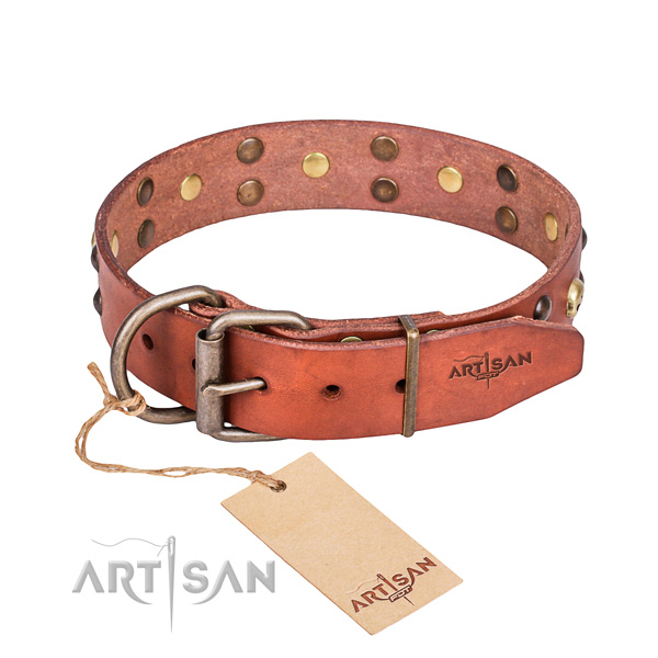 Leather dog collar with smoothed edges for convenient walking