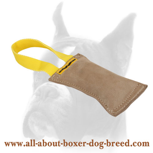 Leather Dog Bite Tug with Handle