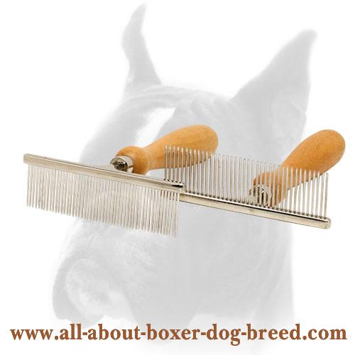 Boxer Chrome Comb with Wooden Handle