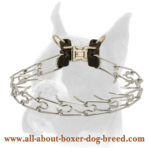 Top Quality Pinch Collar Made of Chrome Plated Steel and Leather - 1/11 inch (2.25 mm)