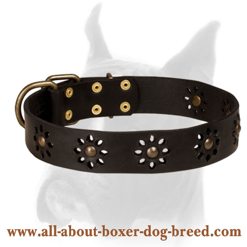 Spring Mood Leather Boxer Collar with Flower Design