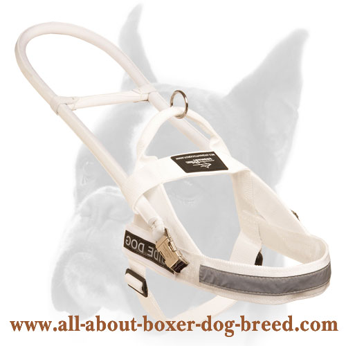 Snow-White Nylon Boxer Harness for Guide and Assistance