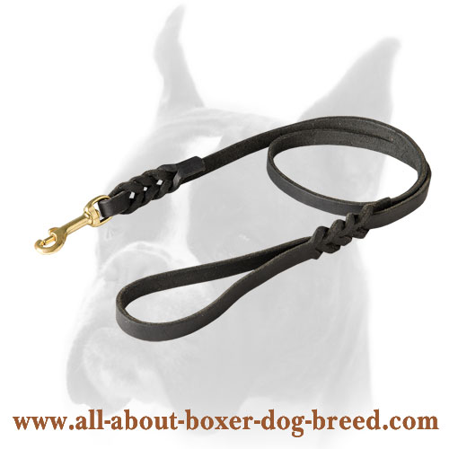 Braided leather leash for Boxer with brass snap hook