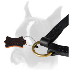 Leather Boxer coupler with strong brass O-ring for leash attachment