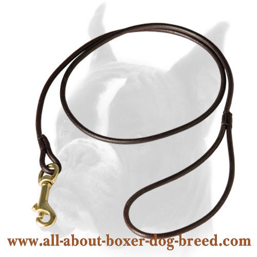 Easy in use round leather dog leash
