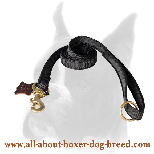Boxer Nylon Leash with Brass Snap Hook and O-ring