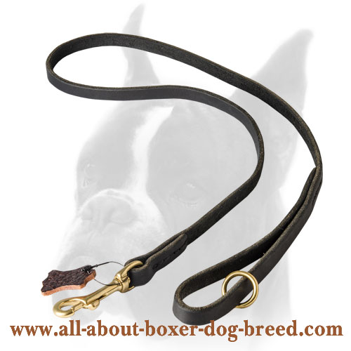 Super strong 	Boxer leather leash with brass hook